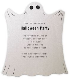 invito a forma di fantasma per la festa di compleanno