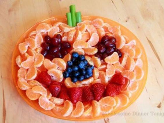frutta a forma di zucca per Halloween