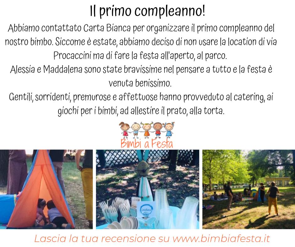 Recensione per festa di compleanno al parco con Carta Bianca Milano