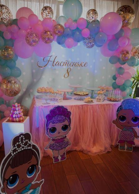 allestimento per la festa di compleanno a tema bamboline LOL