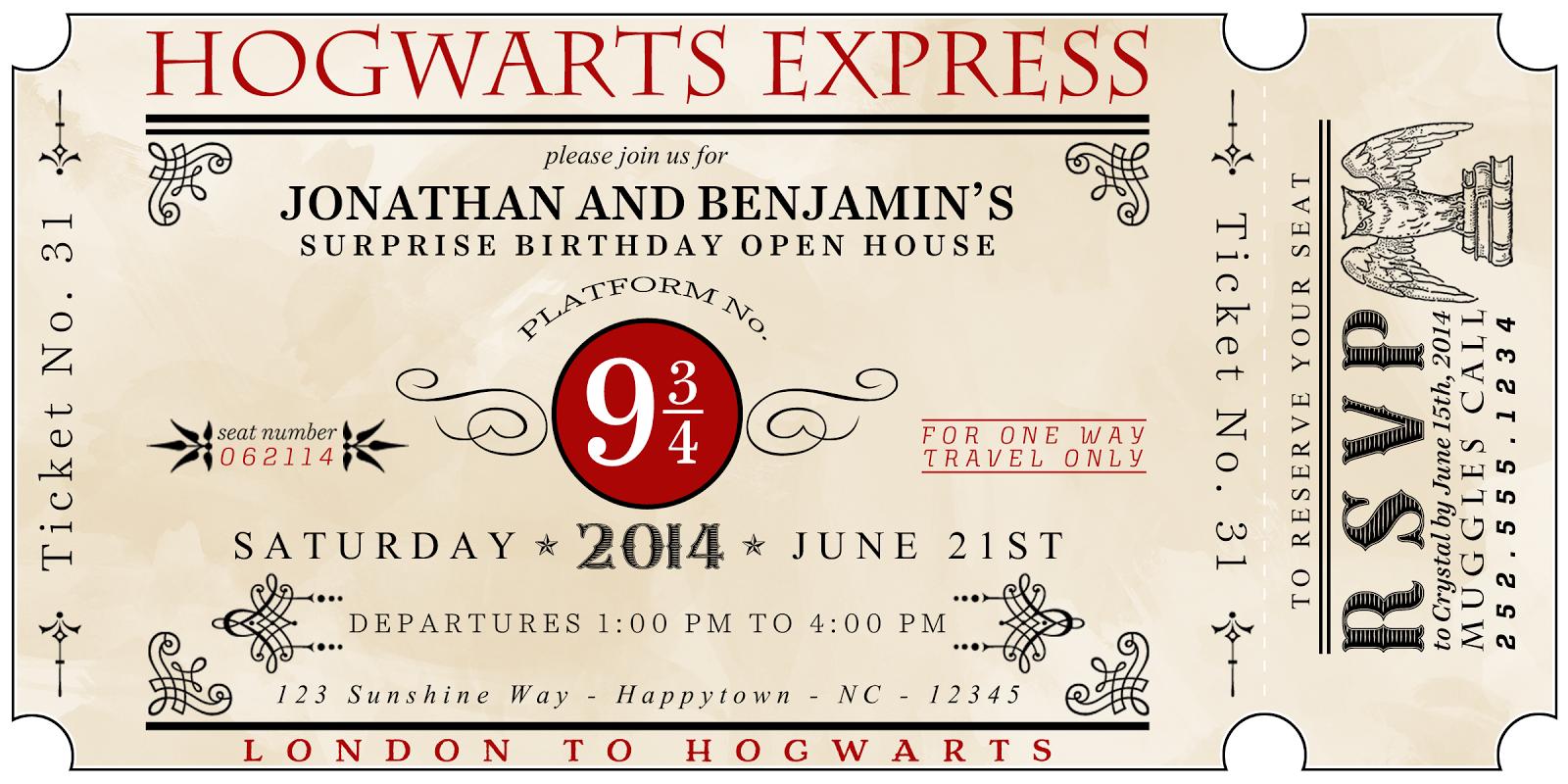Invito festa compleanno bambini Harry Potter