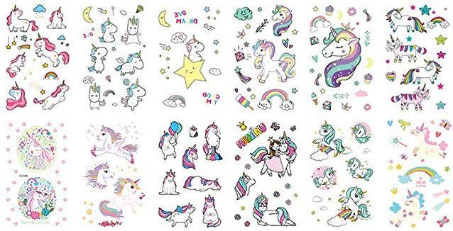 tatuaggio a forma di Unicorno per la festa di compleanno